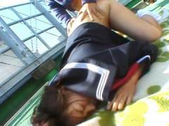 Shy Japanese Coed exhibs and stuffed outdoor