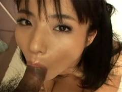 Hot Asian girl goes down on man's rod before getting pussy pokeed