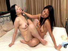 Sexy Japanese lesbians kiss and share toys